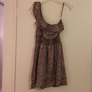 One-Shoulder Leopard Mini Dress